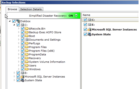 Image showing the Backup Selections window