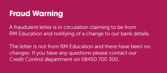 Fraud warning - RM Education has not made a change to our bank details