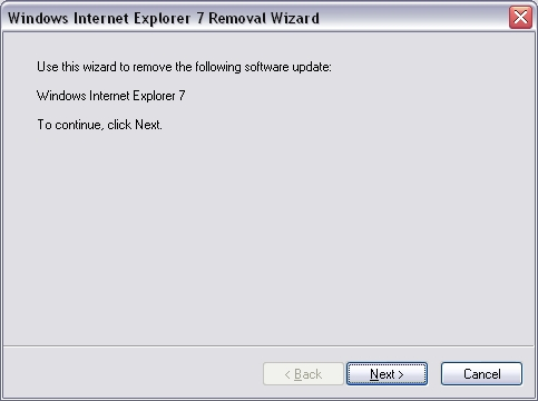 Windows Internet Explorer 7 Removal Wizard dialogue box