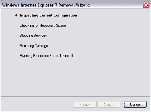 Windows Internet Explorer 7 Removal Wizard - uninstalling dialogue box