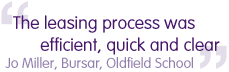The leasing process was efficient, quick and clear - Jo Millar, Bursar Oldfield School