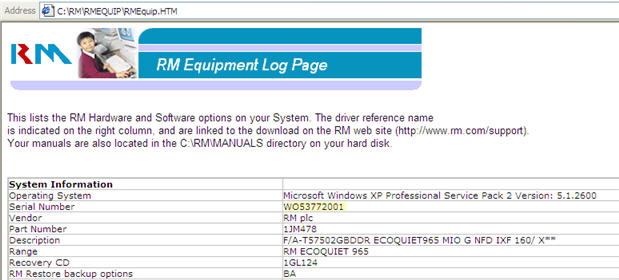 Image showing the RM Equipment Log Page window