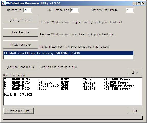 RM Windows Recovery Utility