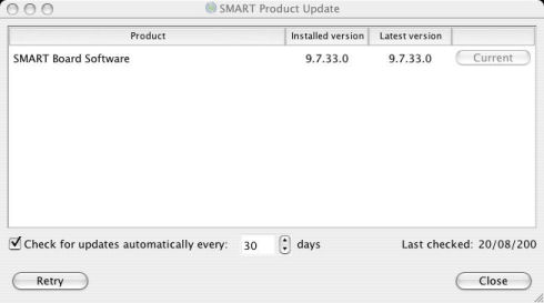 SMART Product Update window