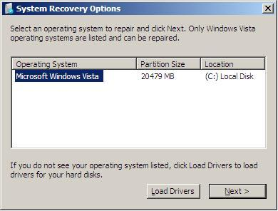 Initial System Recovery Options form