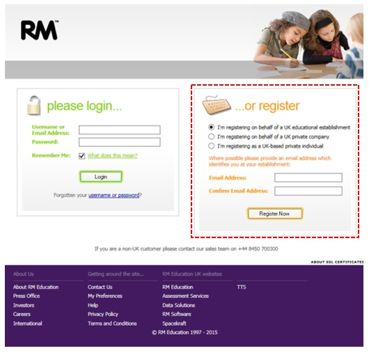 Image showing the registration window for rm.com