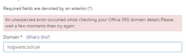 Office 365 federation fails with an error