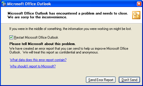 Printing In Outlook Stops With An Error Message To Restart Microsoft