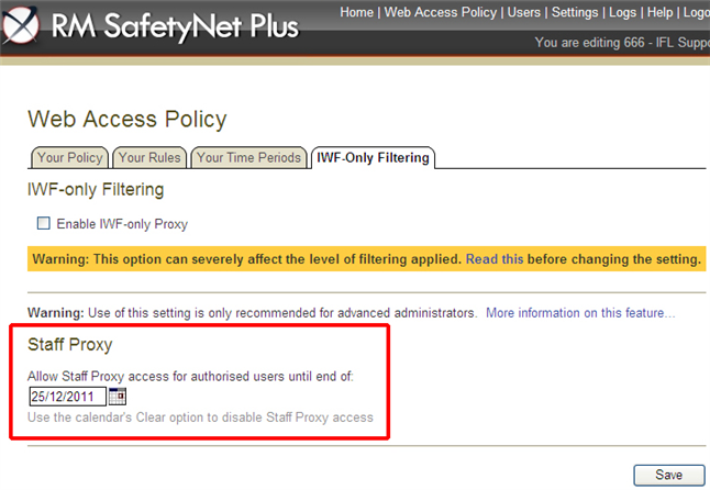 How to administer and use RM SafetyNet Plus Staff Proxy