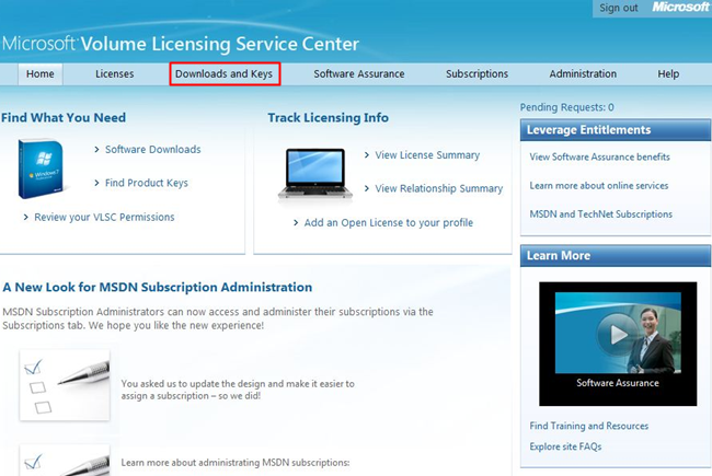 Obtaining Microsoft volume licensing